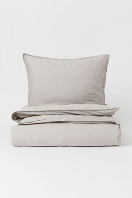 H&M Washed Cotton Duvet Cover Set - Brown