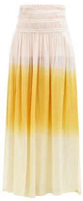 Anaak - Gioia Ruched Dip-dyed Cotton Maxi Skirt - Orange Multi