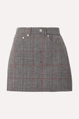 Helmut Lang Femme Prince Of Wales Checked Wool Mini Skirt - Gray