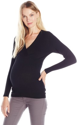 Ripe Maternity Women's Maternity Fitted Long Sleeve Cross Over Knit