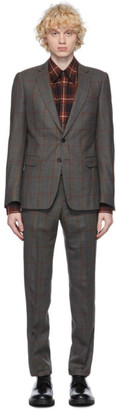 Dries Van Noten Grey Checked Straight Suit