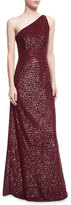 Michael Kors Crocodile Paillette One-Shoulder Gown