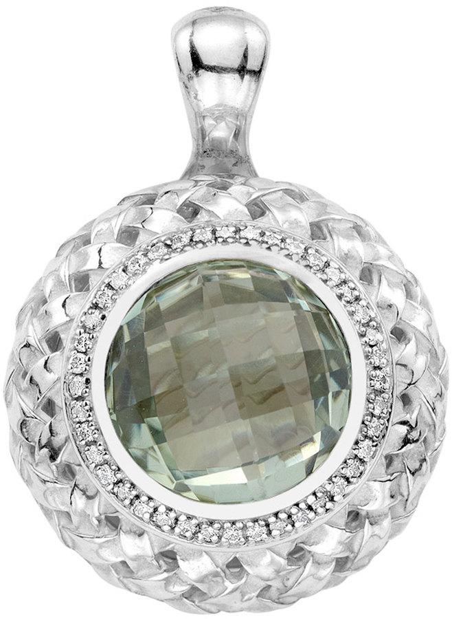 SLANE Green Amethyst-Diamond Basketwoven Pendant