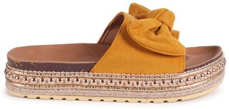 Linzi RARE - Yellow Suede Slip On Slider With Bow Detail and Beaded Trim
