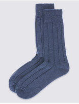 M&s Collection 2 Pairs Of Wool Blend Short Thermal Socks