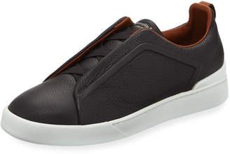 Ermenegildo Zegna Men's Triple-Stitch Slip-On Sneakers, Gray