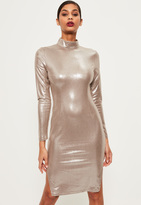 Missguided Silver High Neck Foiled Suede Midi Dress