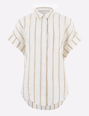 Marks and Spencer Pure Linen Striped Short Sleeve Shirt