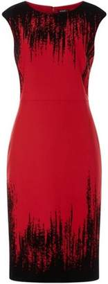 Dorothy Perkins Womens *Roman Originals Red Flock Detail Shift Dress