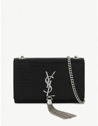 Saint Laurent Black Feminine Kate Crocodile-Embossed Leather Cross-Body Bag