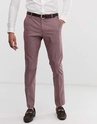 Selected slim fit smart trousers in rose brown