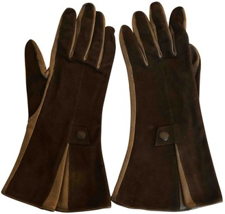 Hermã ̈S HermAs Khaki Leather Gloves