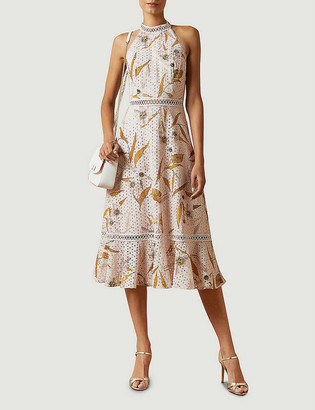 Ted Baker Floxyy Cabana floral-print lace-trimmed cotton midi dress
