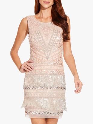 Adrianna Papell Petite Beaded Fringe Dress, Shell