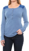 Lucky Brand EMBROIDERED LONG SLEEVE THERMAL TOP (For Women)
