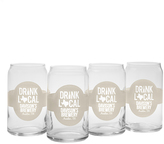Personalized 'Drink Local' Thermo Beer Can Glass - Set of Four