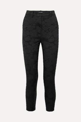 Dolce & Gabbana Cropped Lace-up Floral-jacquard Skinny Pants - Black
