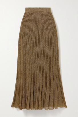 Missoni Pleated Metallic Crochet-knit Maxi Skirt - Gold