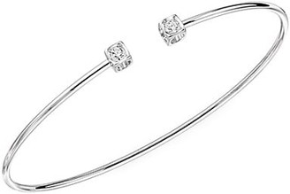 Dinh Van Le Cube 18K White Gold & Diamond Small Open Bangle Bracelet