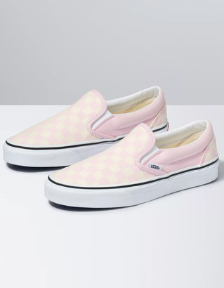 Vans Classic Checkerboard Slip-On Pink & White Girls Shoes