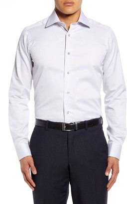 David Donahue Micro Print Extra Trim Fit Dress Shirt