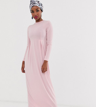 Verona long sleeve jersey maxi dress with pleat in pink