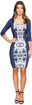 Sangria Scuba Print Dress