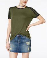 Rebellious One Juniors' Shoulder-Stripe T-Shirt