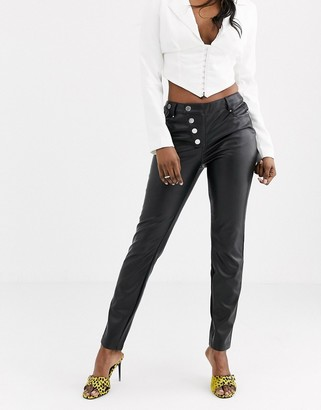Morgan button detail pu cigarette pant with buttons in black