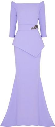 Safiyaa Lilac embellished stretch-cady gown