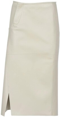 Marni Leather Pencil Skirt W/ Side Slit