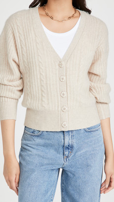 White + Warren Blouson Sleeve Cable Cashmere Cardigan
