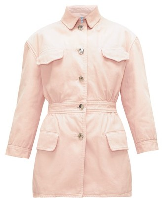 Prada Gathered-waist Denim Jacket - Light Pink