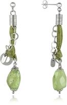 Daco Milano Green Gemstone Sterling Silver Drop Earrings