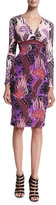 Roberto Cavalli Long-Sleeve Floral-Print Sheath Dress, Red/Pink/Purple