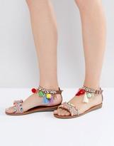 Boohoo Beaded Pom Pom Detail Sandal