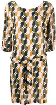 Altea Belted Geometric-Print Dress