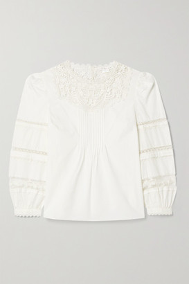 Veronica Beard Bessie Pintucked Crocheted Lace-trimmed Cotton-poplin Blouse - White