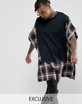 Reclaimed Vintage Inspired Super Oversized T-Shirt With Tartan Panels