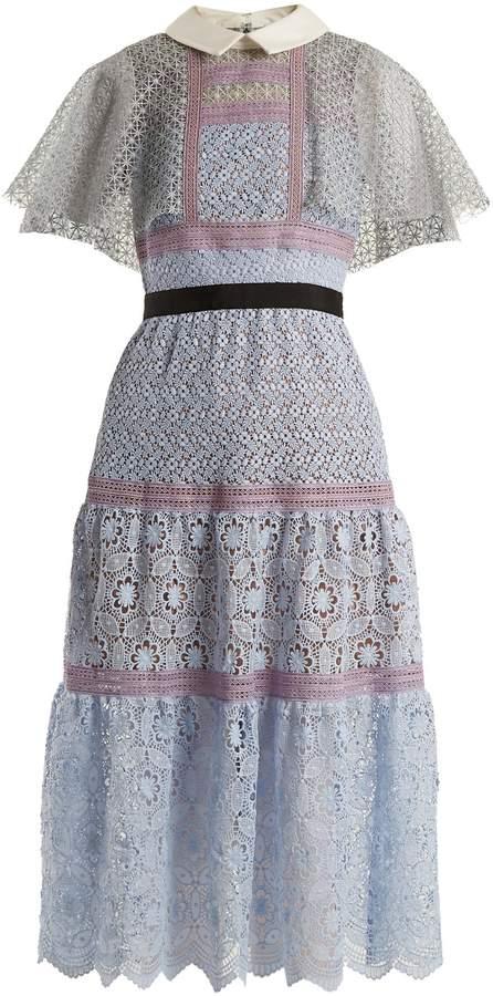 Self-Portrait Contrast-collar floral-lace midi dress
