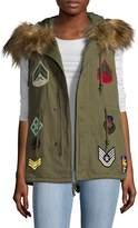 Bagatelle Women's Unlined Cotton Vest w/ Fur Trim