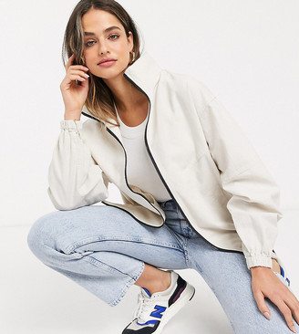 ASOS DESIGN Tall linen oversized bomber jacket in cream