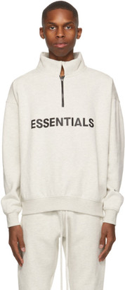 Essentials Grey Mock Neck Half-Zip Sweatshirt