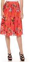 Liz Claiborne Midi Pleated Print Skirt - Tall