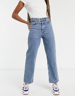 Selected Kate organic cotton straight leg jeans with high waist in blue