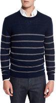 Neiman Marcus Cashmere-Cotton Striped Crewneck Sweater