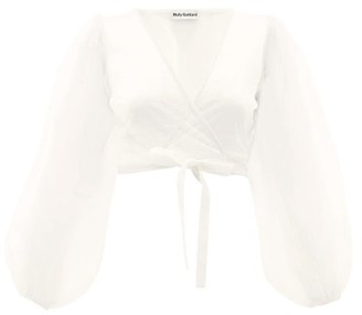 Molly Goddard Ottilie Cropped Tulle Wrap Top - Ivory