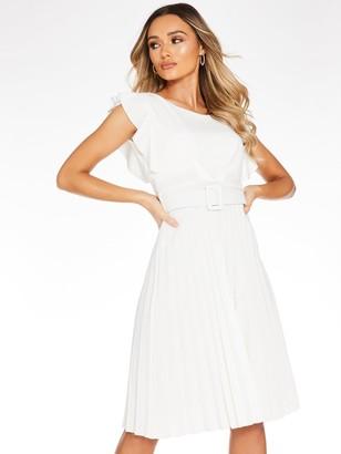 Quiz Frill Front Pleated Midi Dress - Cream