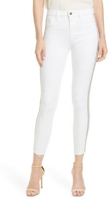 L'Agence Margot Crystal Side Stripe High Waist Skinny Jeans