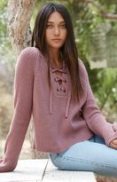 La Hearts Lace-Up Pullover Sweater